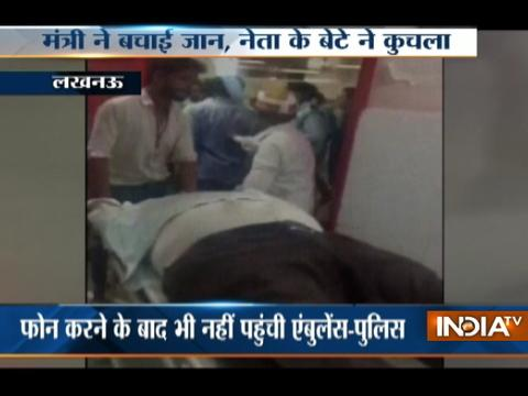 UP minister Mohsin Raza takes an injured person to hospital as ambulance didn't arrive in Lucknow