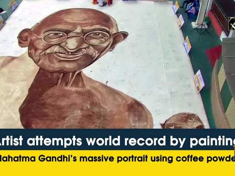Artist attempts world record by painting Mahatma Gandhi's massive portrait using coffee powder