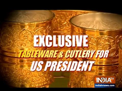 अमेरिकी राष्ट्रपति डोनाल्ड ट्रम्प की भारत यात्रा के लिए बनाया गया विशेष टेबलवेयर और कटलरी