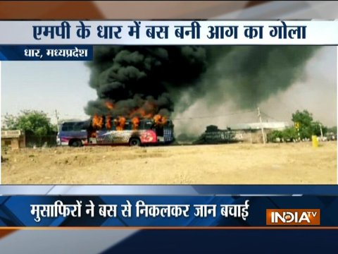 Bus catches fire as it collides with a bike in Madhya Pradesh, 4 dead
