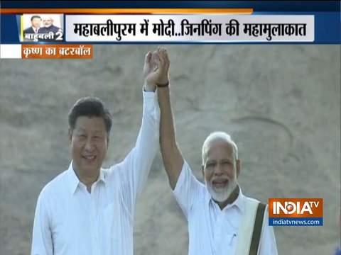 पीएम नरेंद्र मोदी ने महाबलीपुरम में चीनी राष्ट्रपति शी जिनपिंग की अगवानी की