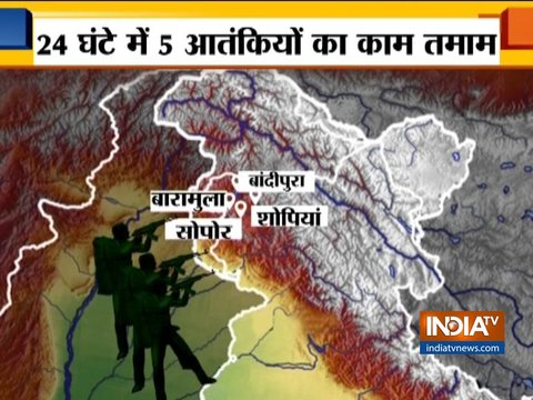 In fresh encounters with security forces in Jammu and Kashmir 5 terrorists killed