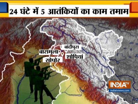 जम्मू-कश्मीर में सुरक्षा बलों के साथ मुठभेड़ में 5 आतंकवादी मारे गए