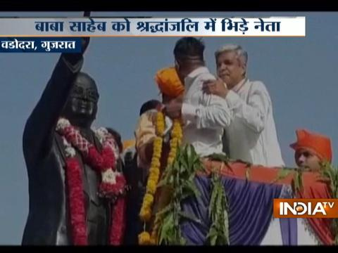 Gujarat: Congress and BJP supporter scuffle for paying tribute to Ambedkar first