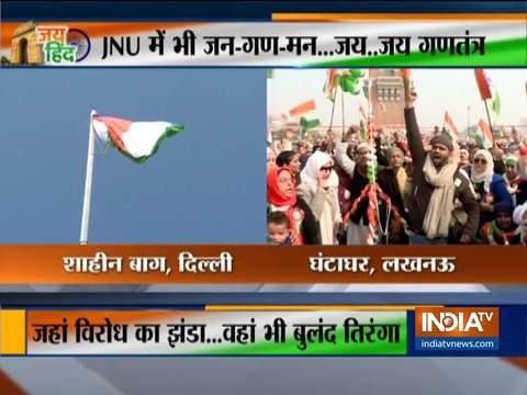 शाहीन बाग और लखनऊ के घण्टा घर पर प्रदर्शनकारियों की भारी भीड़ ने गणतंत्र दिवस मनाया