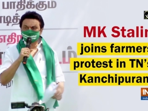MK Stalin joins farmers protest in TN's Kanchipuram