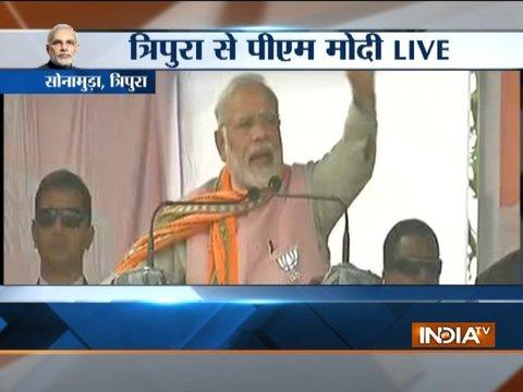 PM Modi addresses a rally in Tripura
