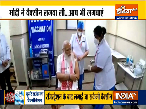 PM Modi takes the first dose of Made-in-India Bharat Biotech's Covaxin vaccine