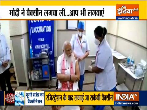 पीएम नरेंद्र मोदी ने लगवाई विश्वास वाली वैक्सीन