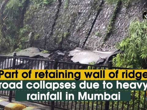 Part of retaining wall of ridge road collapses due to heavy rainfall in Mumbai