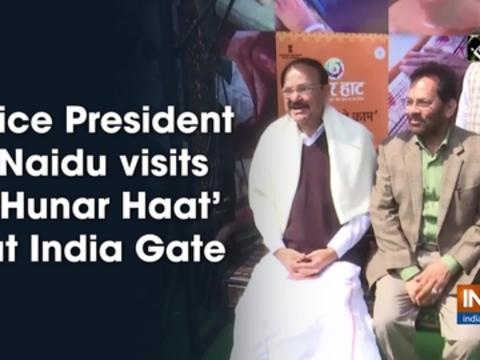 Vice President Naidu visits 'Hunar Haat' at India Gate