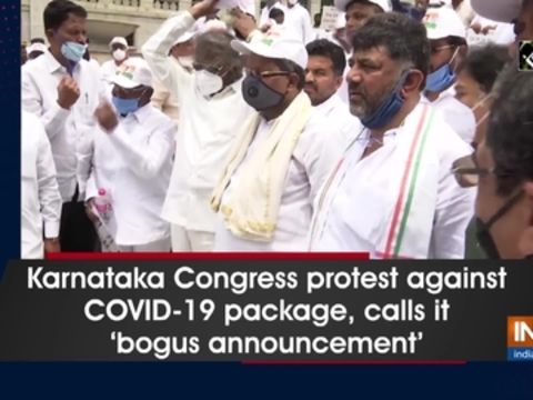 Karnataka Congress protest against COVID-19 package, calls it 'bogus announcement'