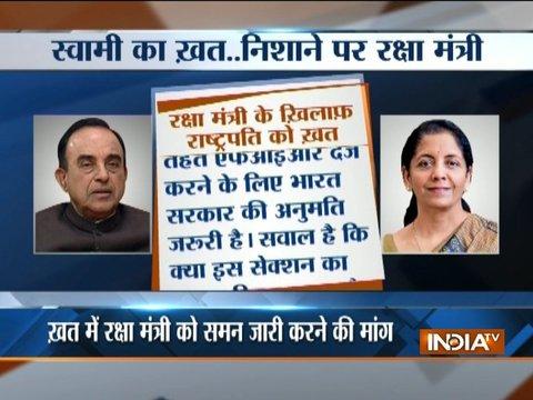 Subramanian Swamy writes to President, complains against defence minister Nirmala Sitharaman