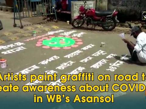 Artists paint graffiti on road to create awareness about COVID-19 in WB's Asansol