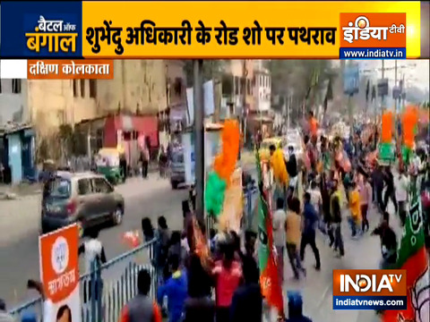 Stone pelted during state BJP chief Dilip Ghosh and Suvendu Adhikari roadshow in Kolkata