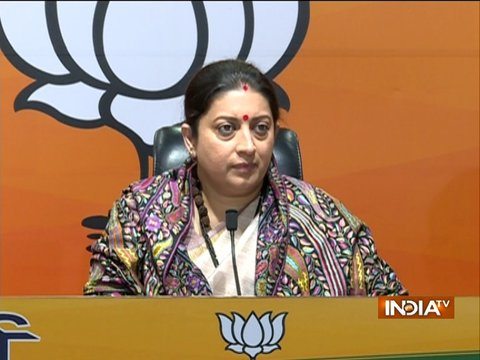 Smriti Irani addresses media over BJP's victory in recent elections
