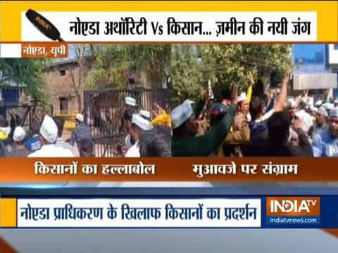 Farmers protest against Noida authority, demand compensation