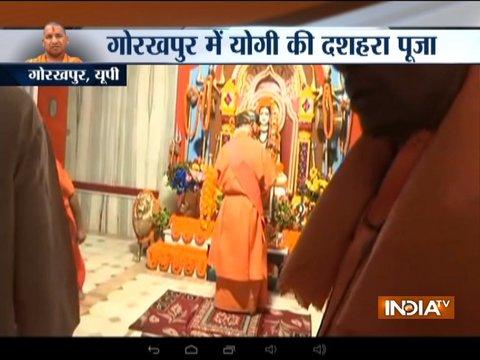 Dussehra: UP CM Yogi Adityanath offers prayers in Gorakhpur's Gorakhnath temple