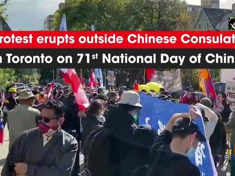 Protest erupts outside Chinese Consulate in Toronto on 71st National Day of China