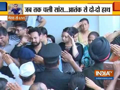 अनंतनाग एनकाउंटर में शहीद मेजर केतन शर्मा को मेरठ में दी गई अंतिम विदाई