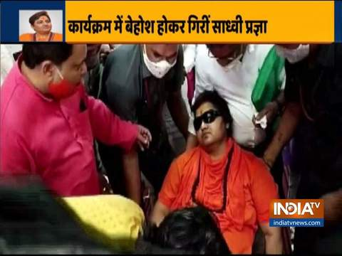 BJP MP Sadhvi Pragya faints during a program in Bhopal