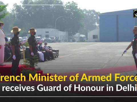 French Minister of Armed Forces receives Guard of Honour in Delhi