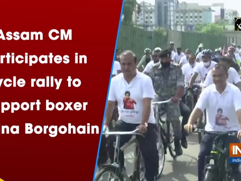 Assam CM participates in cycle rally to support boxer Lovlina Borgohain