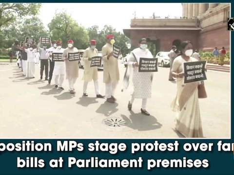 Opposition MPs stage protest over farm bills at Parliament premises