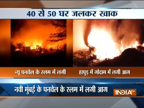 Fire breaks out in the slums of Panvel, while fire engulfs godown of a tent house in Hapur