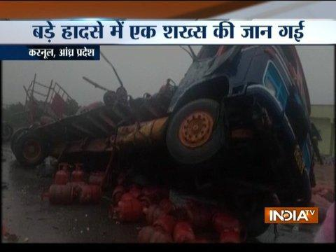 Andhra Pradesh: 1 killed, 3 injured after truck carrying gas cylinders collides with lorry