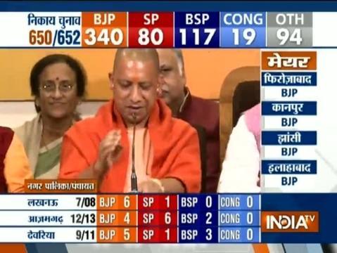 UP CM Yogi Adityanath addresses the media on UP civic poll results