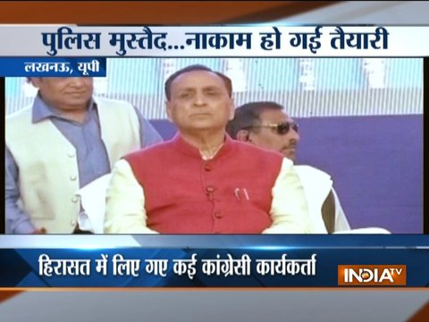 UP: Congress workers show black flags to Vijay Rupani to protest attacks on migrants in Gujarat