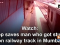 Watch: Cop saves man who got stuck on railway track in Mumbai