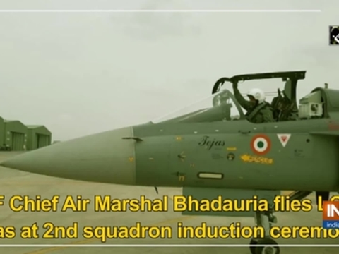IAF Chief Air Marshal Bhadauria flies LCA Tejas at 2nd squadron induction ceremony