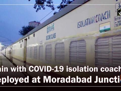 Train with COVID-19 isolation coaches deployed at Moradabad Junction