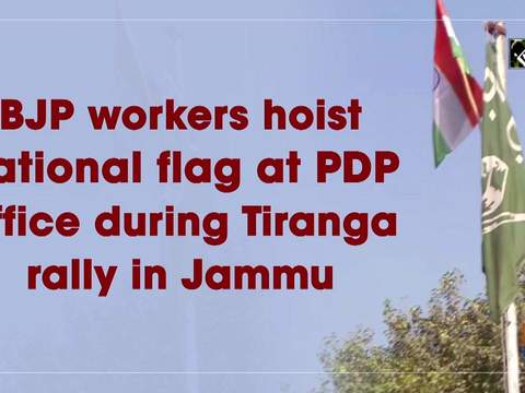 BJP workers hoist national flag at PDP office during Tiranga rally in Jammu