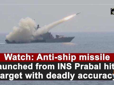 Watch: Anti-ship missile launched from INS Prabal hits target with deadly accuracy