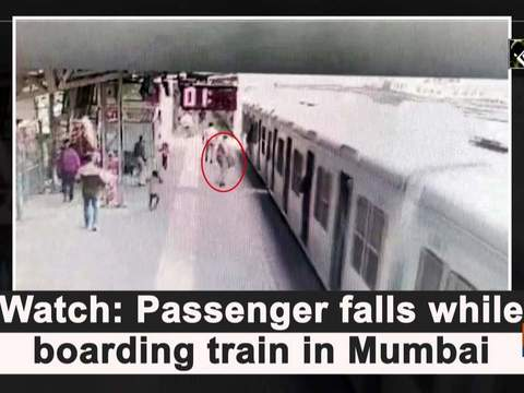 Watch: Passenger falls while boarding train in Mumbai