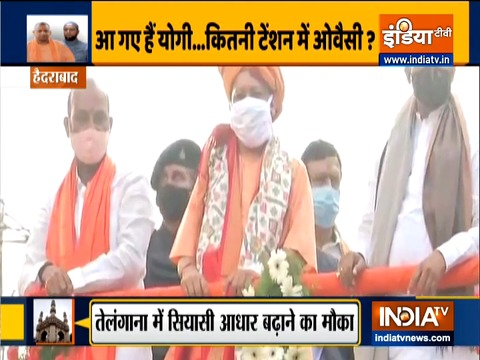 UP CM Yogi Adityanath holds a roadshow in Hyderabad ahead of GHMC polls
