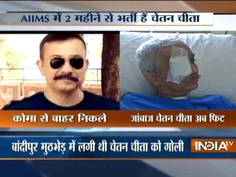 Kiren Rijiju meets CRPF commandant Chetan Kumar Cheetah injured in Bandipora encounter