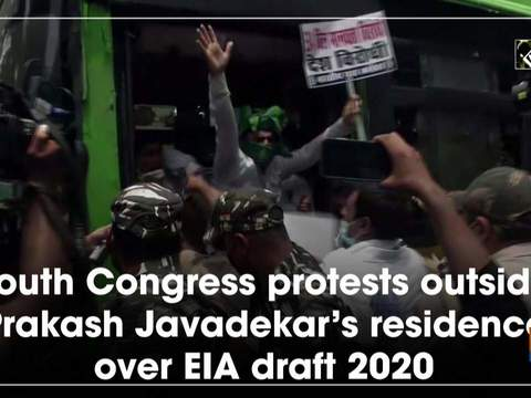 Youth Congress protests outside Prakash Javadekar's residence over EIA draft 2020