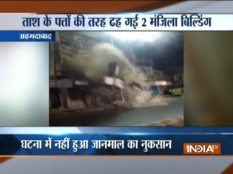 Two-storey building collapses with seconds in Ahmedabad (watch video)