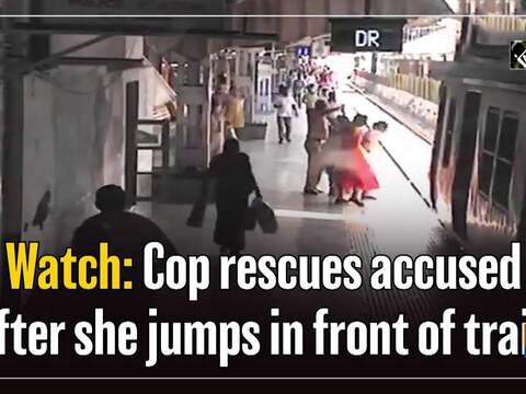 Watch: Cop rescues accused after she jumps in front of train