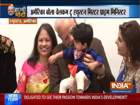 अमेरिका में मोदी: प्रधानमंत्री ने ह्यूस्टन में बच्चों पर बरसाया प्यार