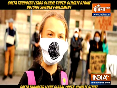 Greta Thunberg leads young activists protest against climate change outside Swedish Parliament