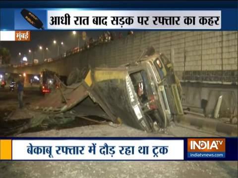 मुंबई के वेस्टर्न एक्सप्रेस हाईवे पर ट्रक और टैक्सी की टक्कर में 4 लोग घायल