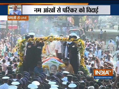 Last rite of CM Manohar parrikar begins,cremation of body to be done at SAG ground, Panji
