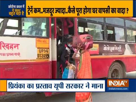 Defying lockdown norms, thousands of migrants gather at Ram Lila Maidan in Ghaziabad for buses