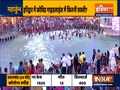 Devotees take a holy dip in river Ganga at Har Ki Pauri in Haridwar on second day of Navratra