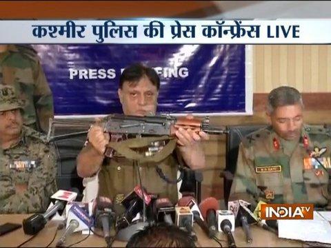 Kashmir police briefs media after successful encounter of terrorist Talha Rashid